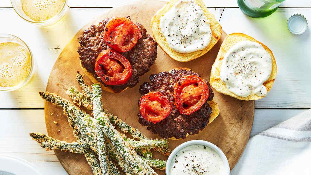 marley spoon burgers asparagus tomatoes