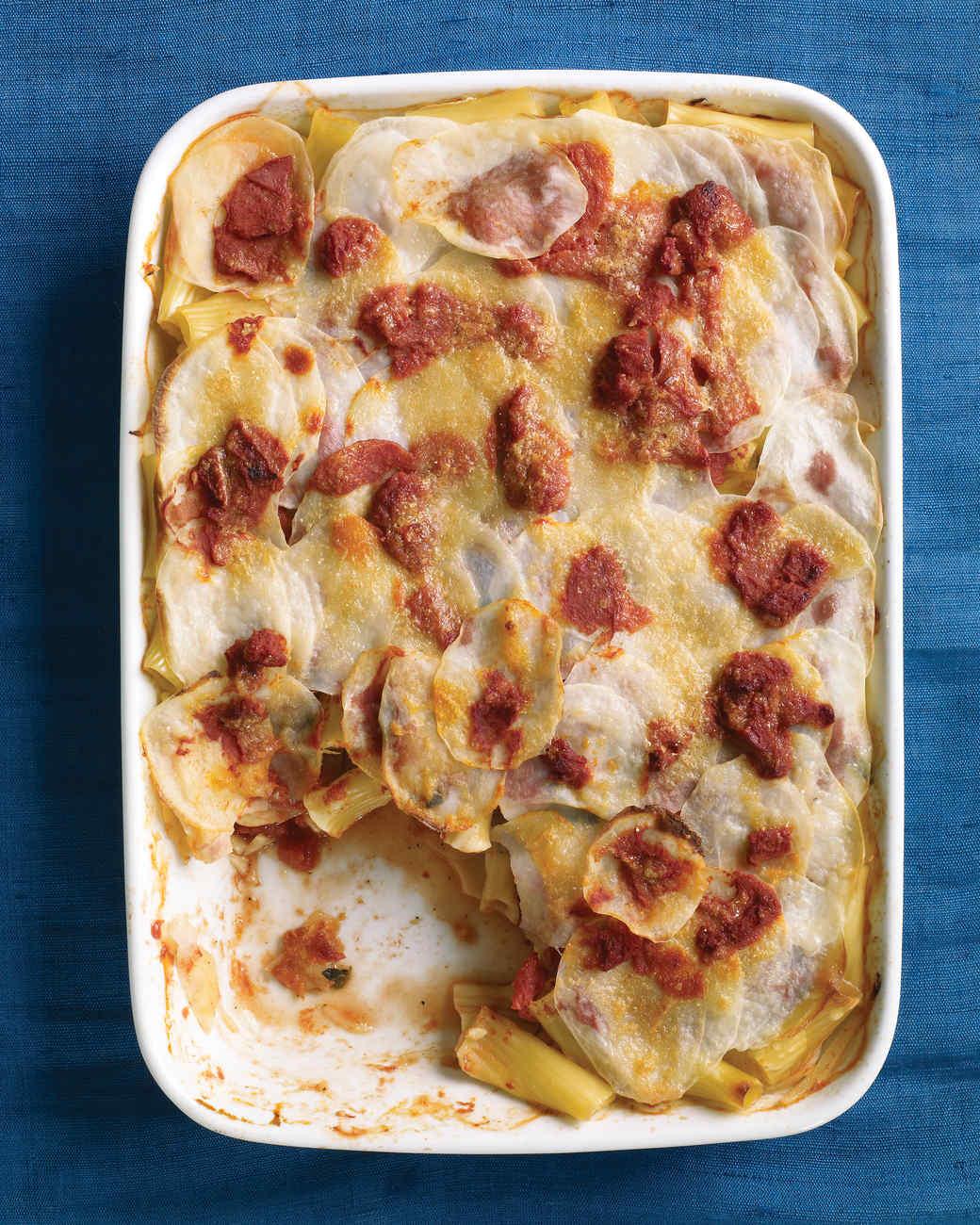 Tomato, Pasta, and Potato Bake