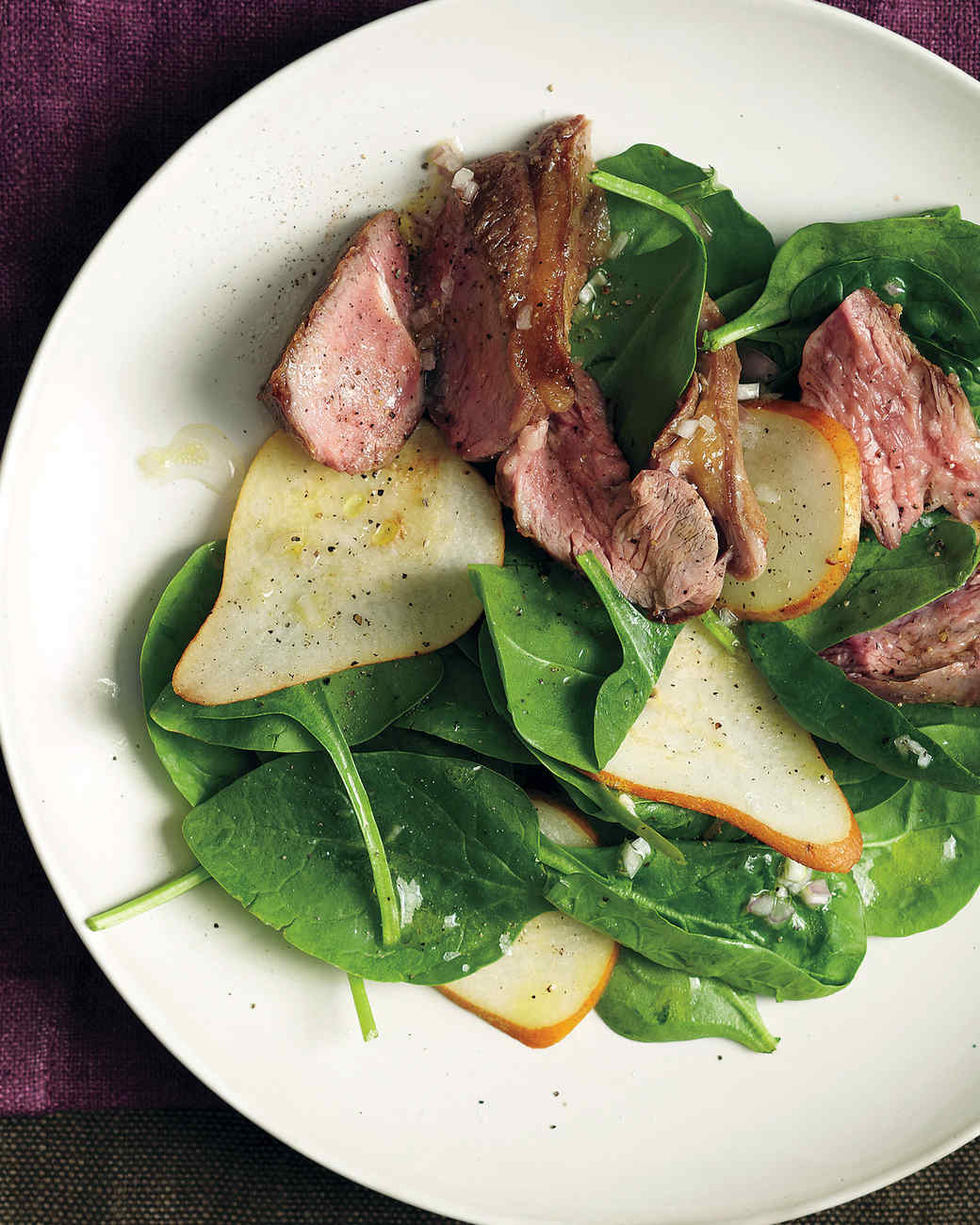 Spinach and Pear Salad with Lamb