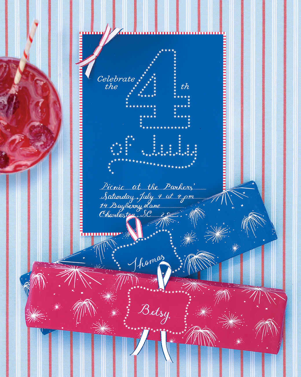 Fourth of July Clip-Art Invitations