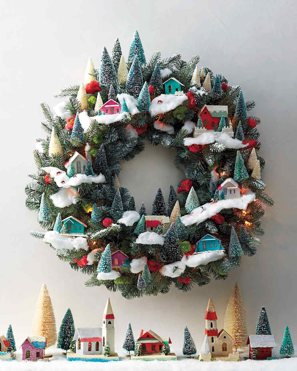 magical village themed christmas wreath - Martha Stewart 75 Foot Christmas Trees