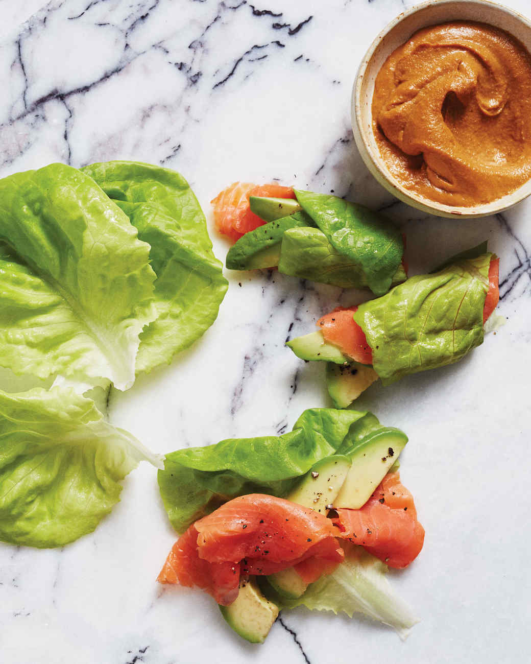 Smoked-Salmon Lettuce Rolls With Avocado and Tahini
