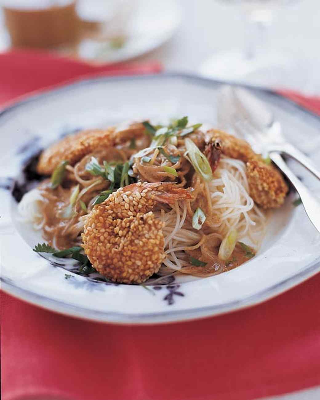 Sesame Seed Crusted Shrimp with Sesame Noodles