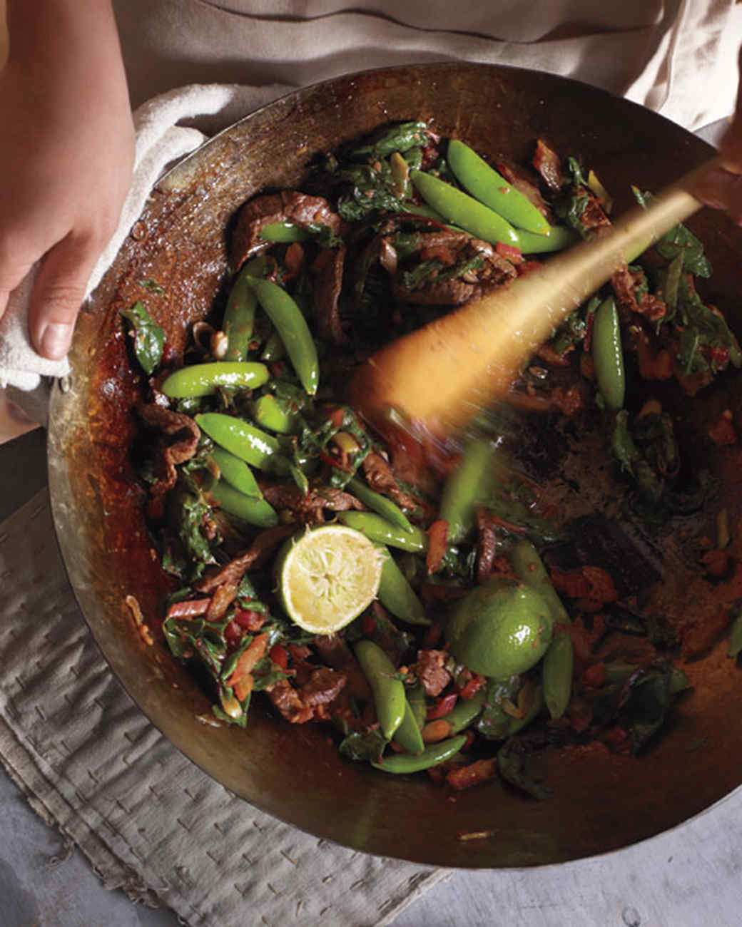 Swiss Chard, Snap Peas, and Beef Stir-Fry
