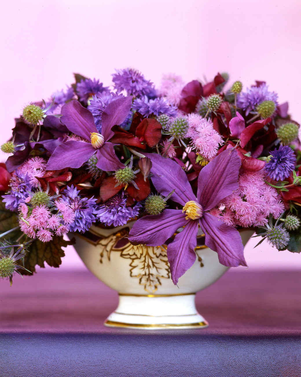 Purple flower arrangements martha stewart izmirmasajfo Image collections