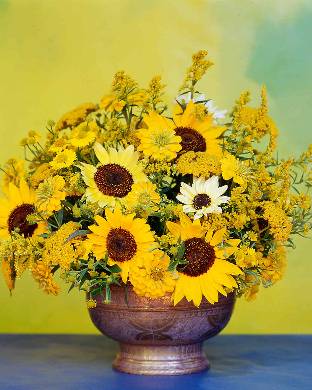 Yellow flower arrangements martha stewart van gogh inspired arrangement mightylinksfo