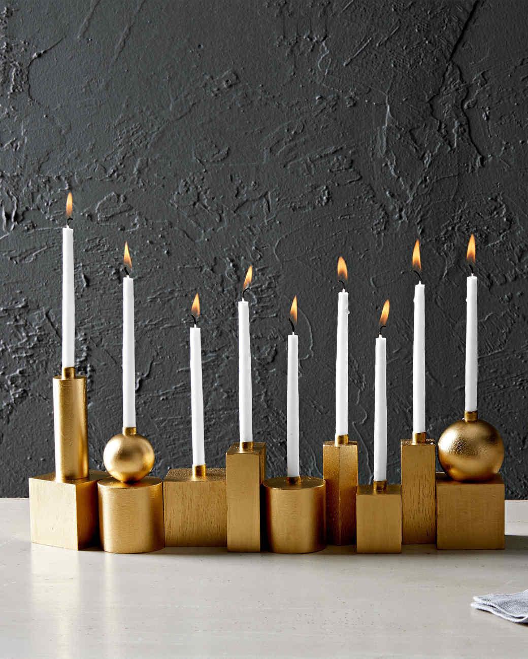 gilded wooden blocks for a Hanukkah menorah