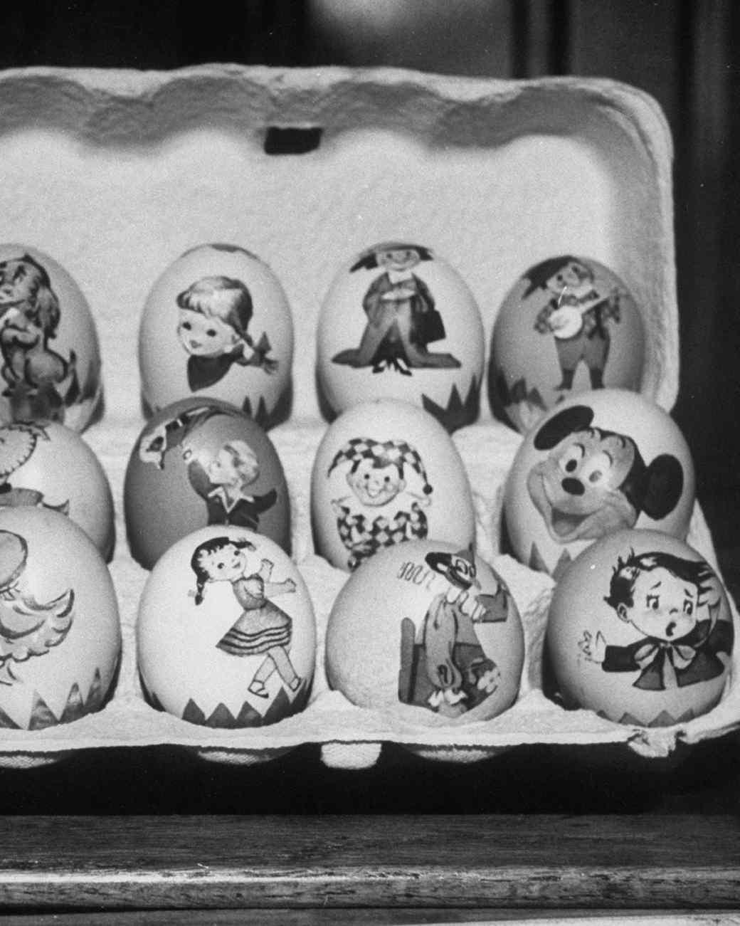 decorated eggs in carton
