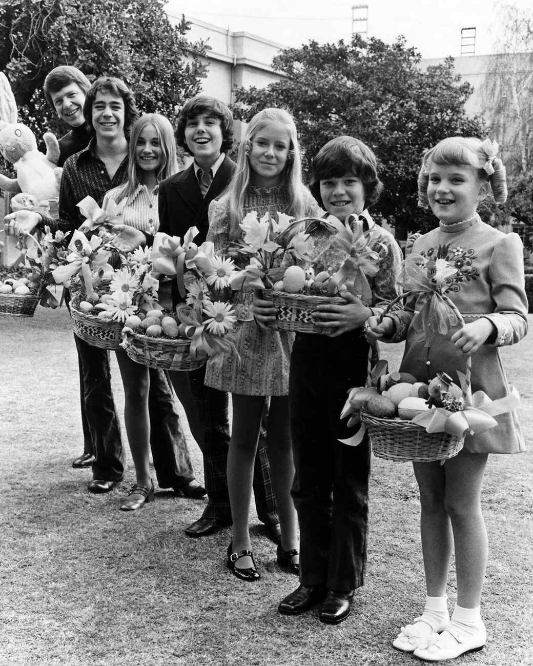 the brady bunch holding easter baskets in promo photo