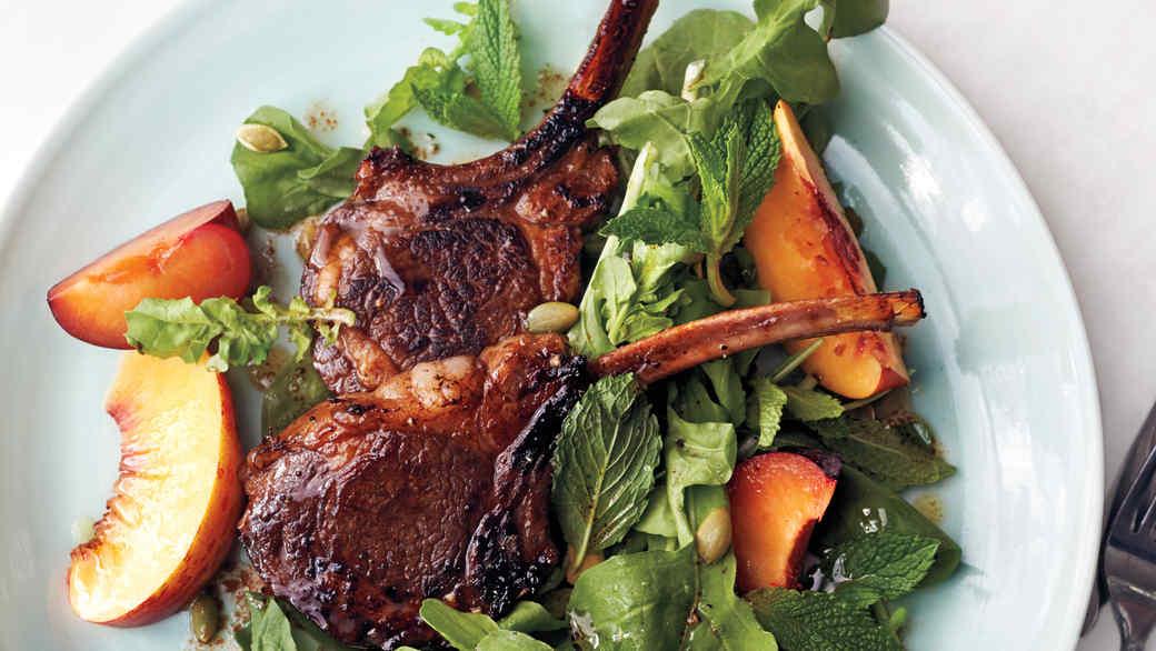 lamb chops and salad