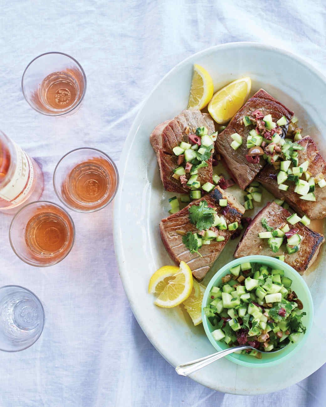 Elegant Bluefin Tuna With Olive, Cucumber, And Cilantro Relish