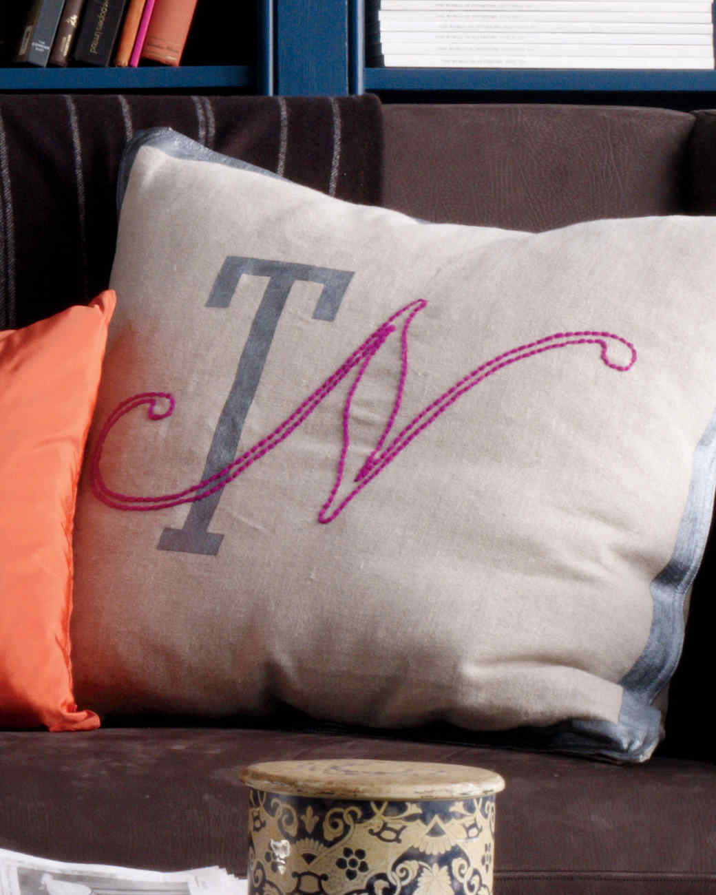 Monogram Embroidered and Painted Pillow