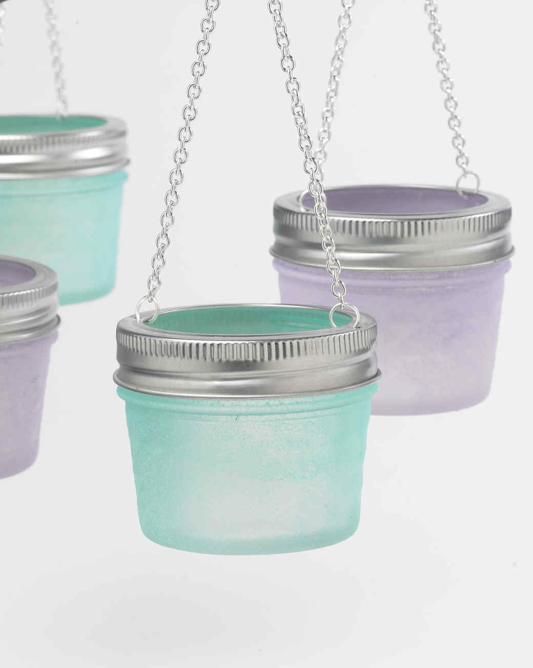 Sea Glass and Milk Glass Hanging Votives Martha Stewart