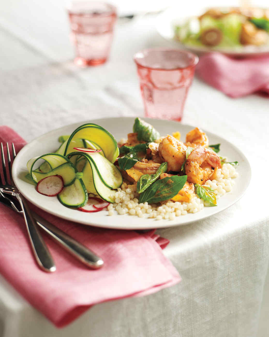 Lemon-Basil Shrimp with Shaved Zucchini Salad