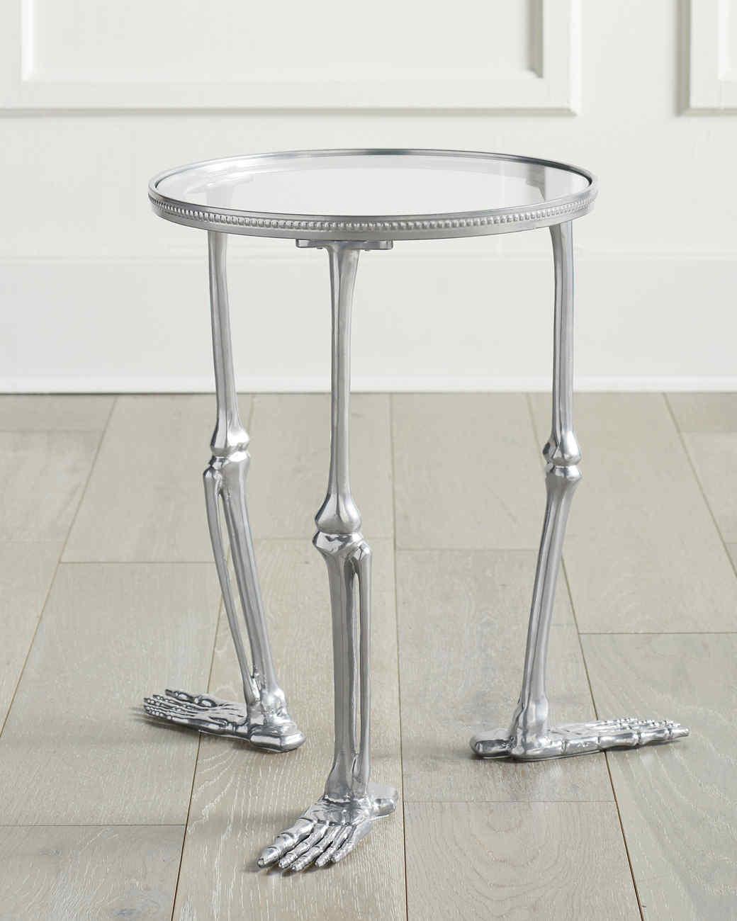silver skeleton end table
