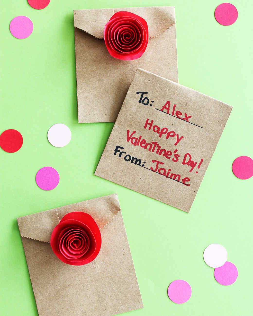 Paper Rose Valentines For Kids