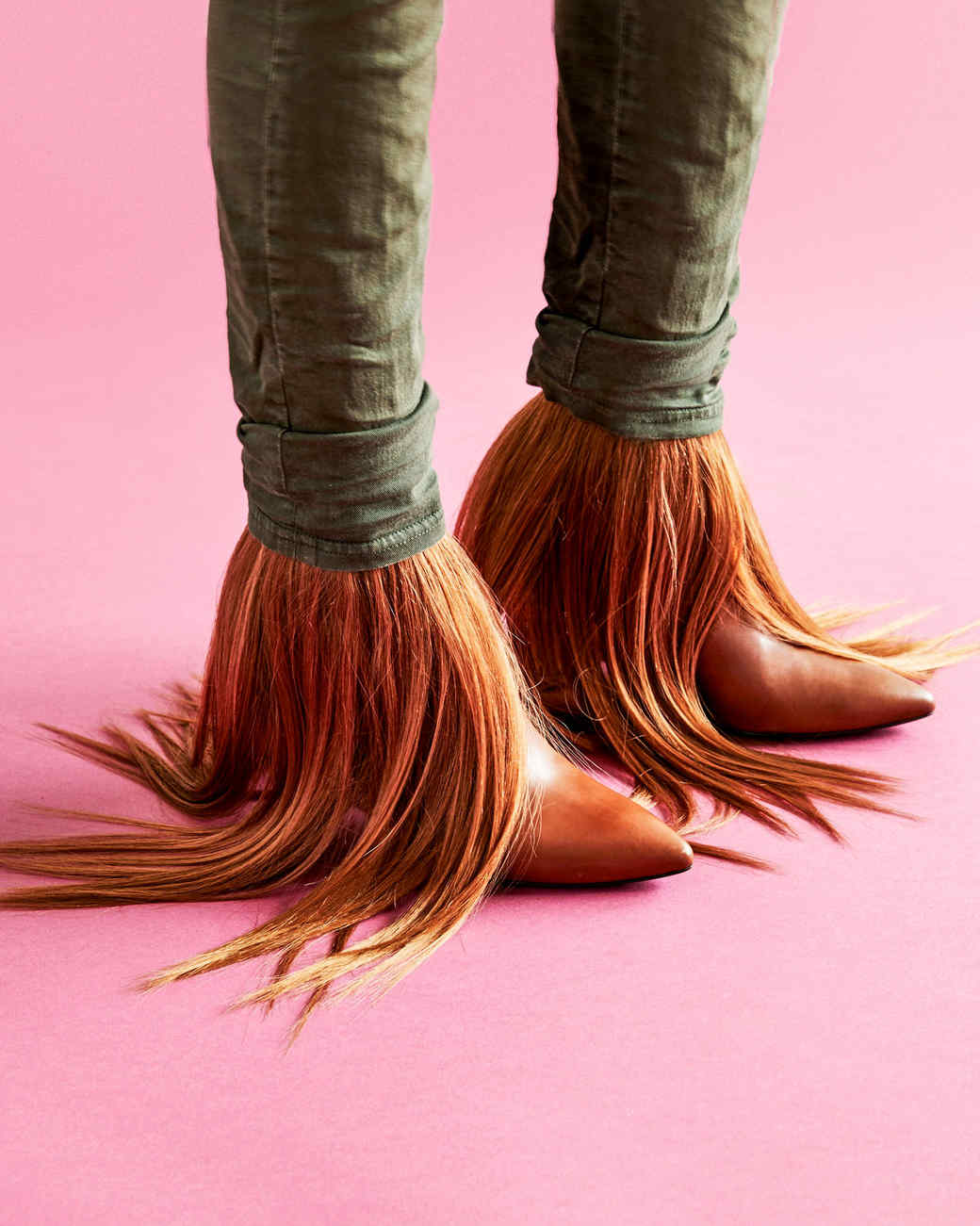 werewolf boots against pink background