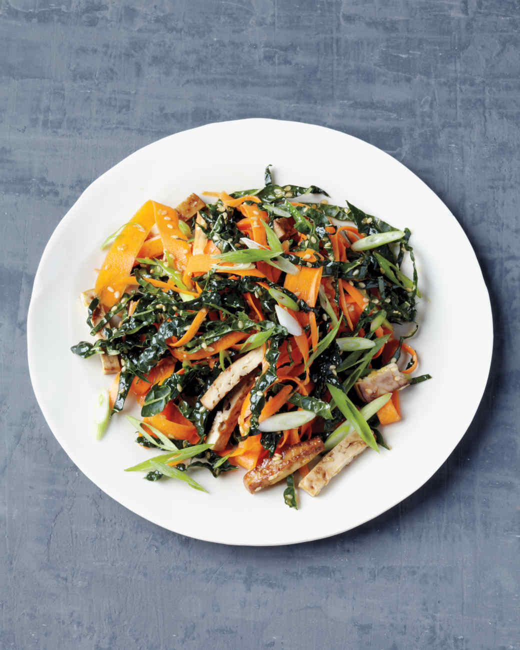 Shaved Carrot Salad with Baked Tofu