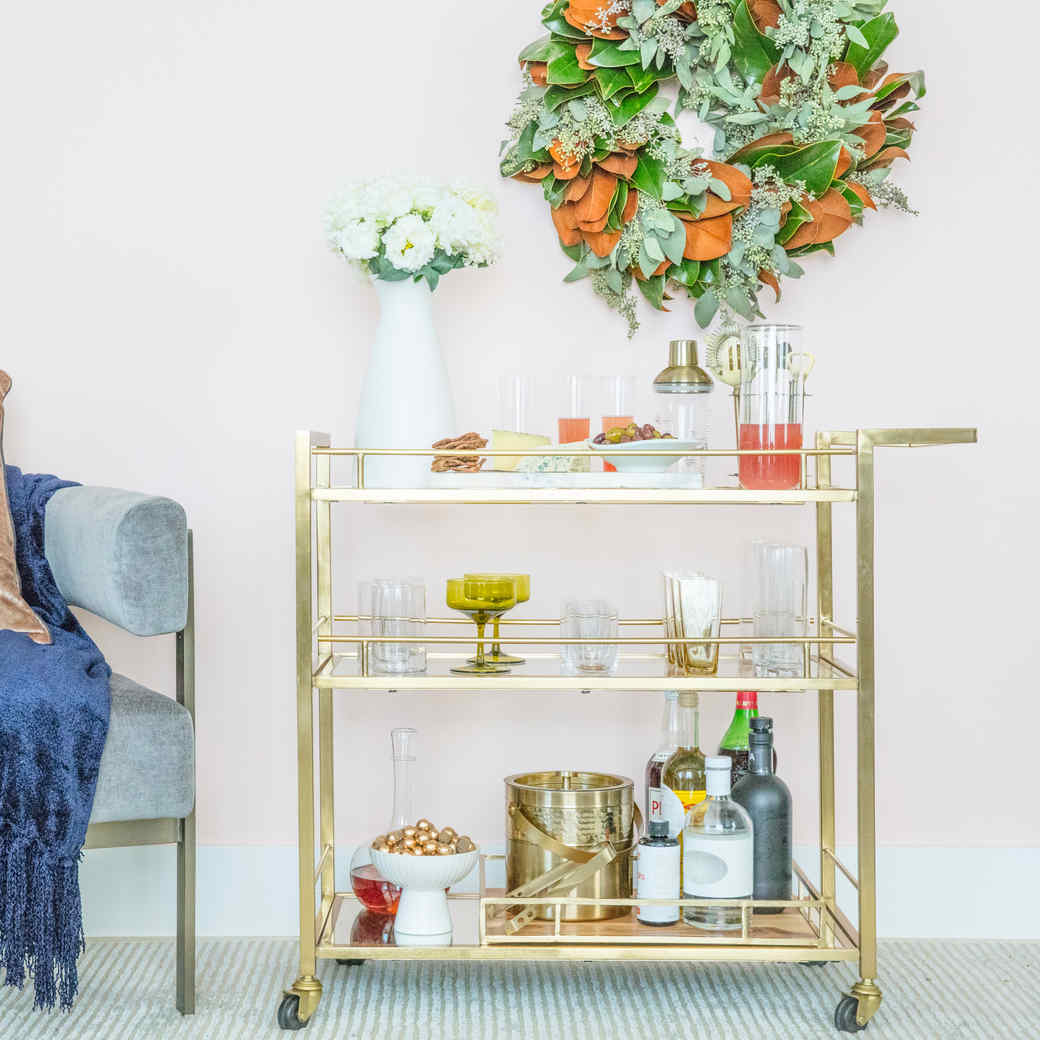 How To Set Up The Perfect Holiday Bar Cart Martha Stewart