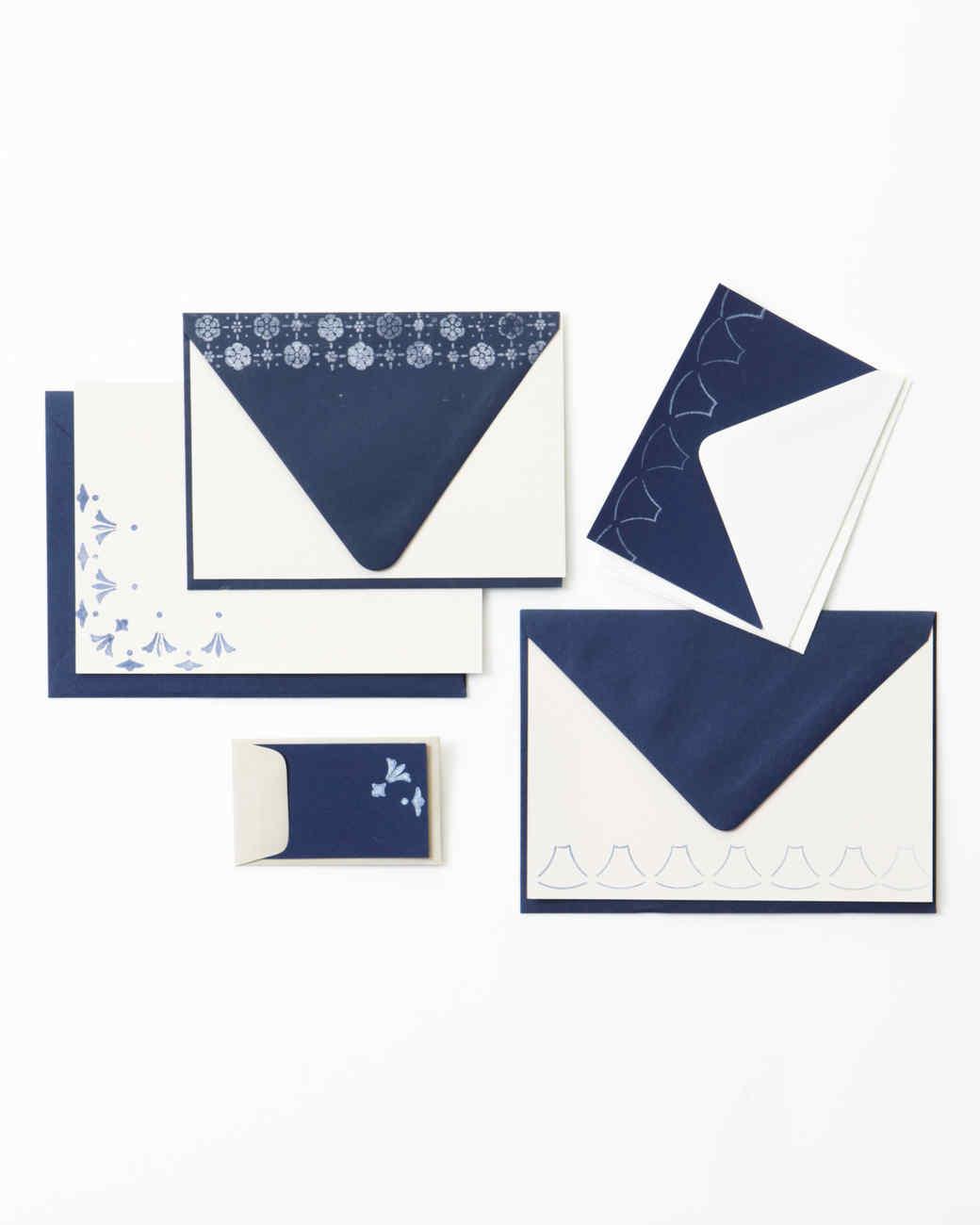 Navy Ink-Stamped Stationery Set