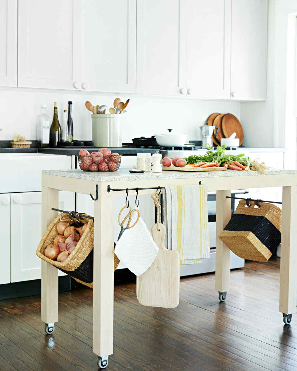 Kitchen island table with storage Build Your Own Floating Island Storage Martha Stewart The Floating Island