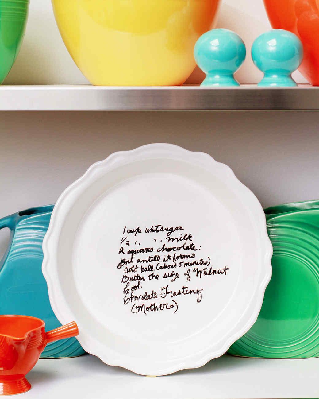 handwritten recipe on pie plate displayed