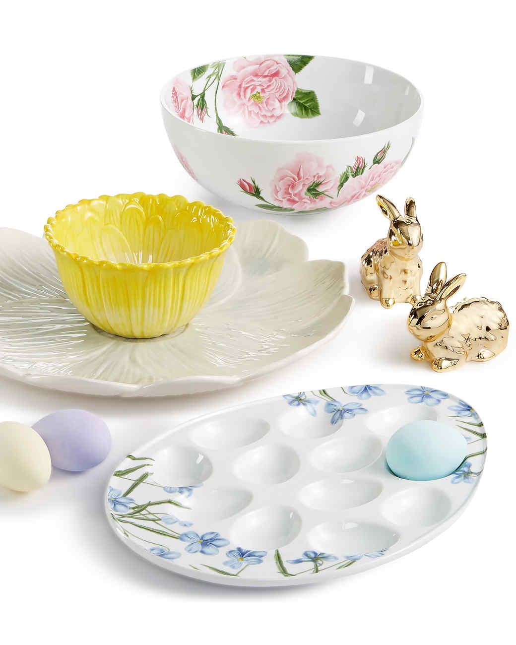 macys floral serveware easter egg dish gold bunnies