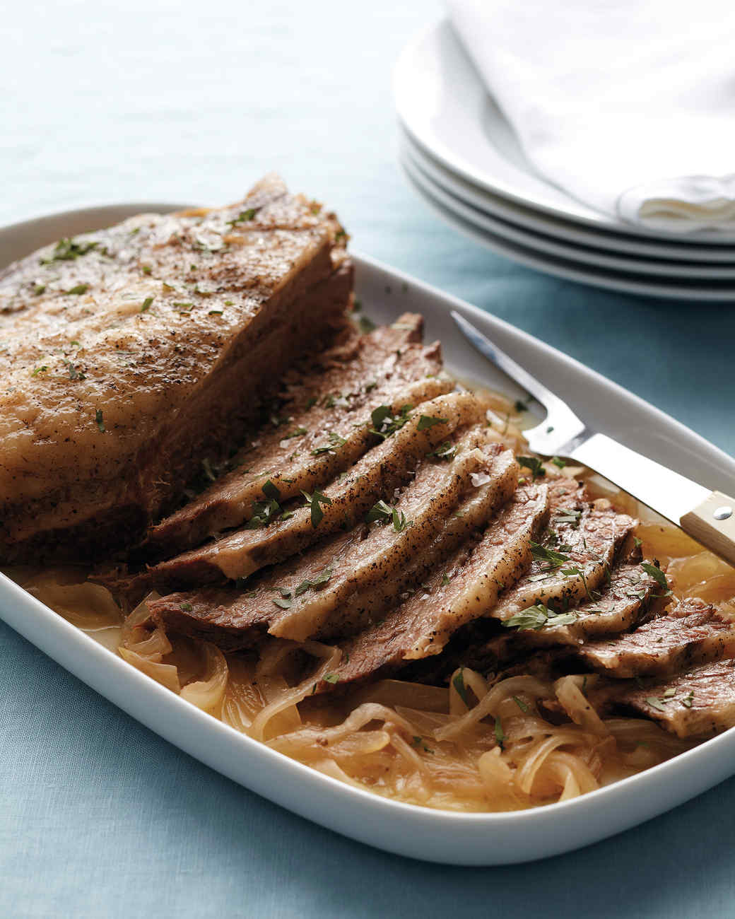 Slow-Cooker Brisket and Onions Recipe | Martha Stewart