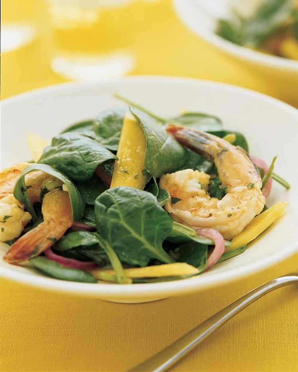Spinach Salad with Spiced Shrimp and Mango