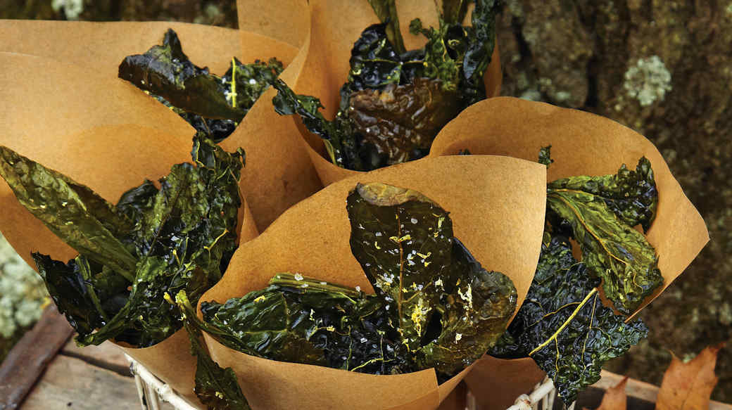 Kale Crisps with Sea Salt and Lemon