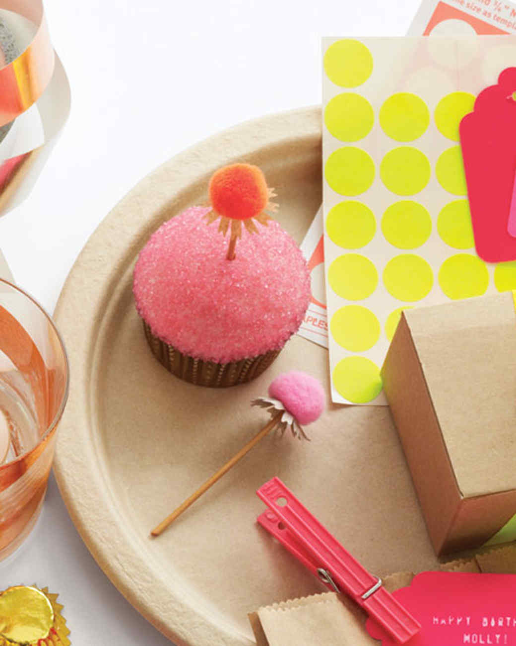 Pom-Pom and Cornflower Punched Cupcake Toppers