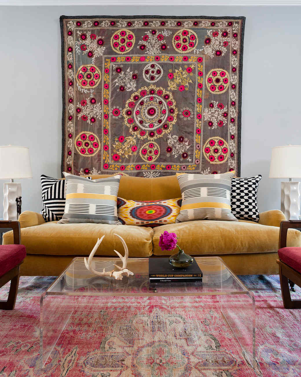 textile art living room wall design