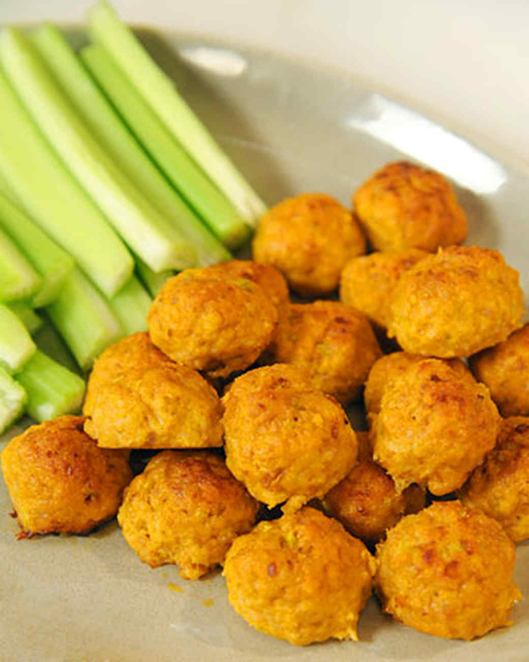 Mini Spicy Buffalo Chicken Balls with Blue Cheese and Hot Sauce