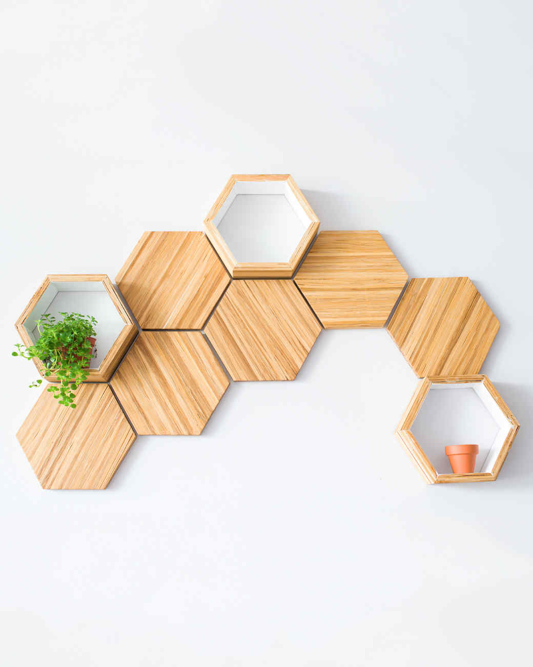 bamboo hexagon shelves
