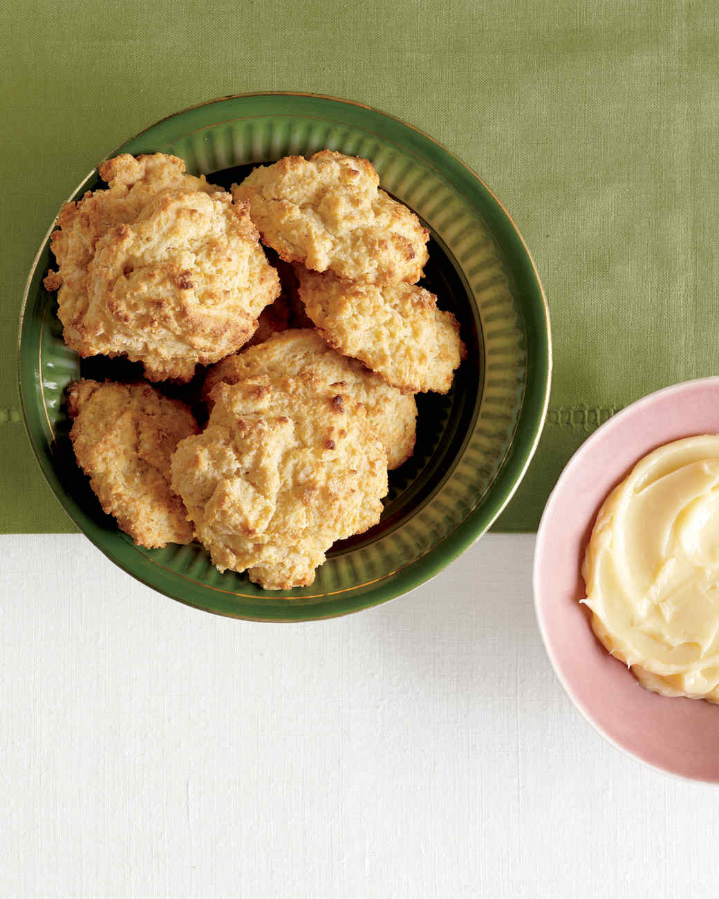 Buttermilk-Cornmeal Drop Biscuits with Honey Butter