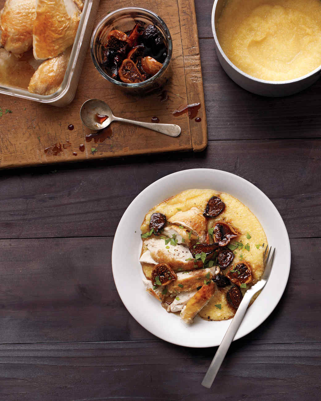 Roasted Chicken with Polenta and Balsamic-Poached Figs