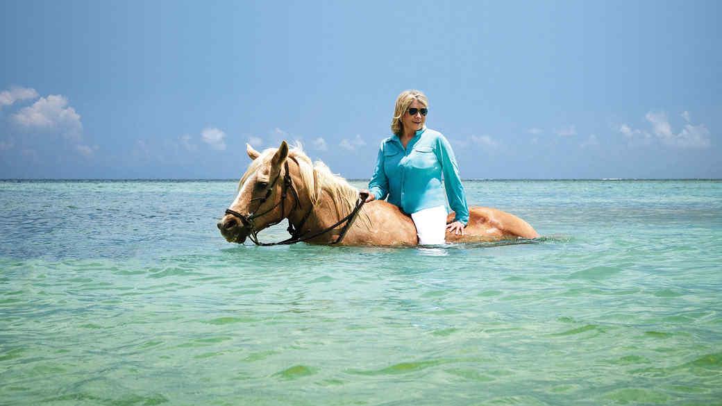 Martha Stewart on horseback.