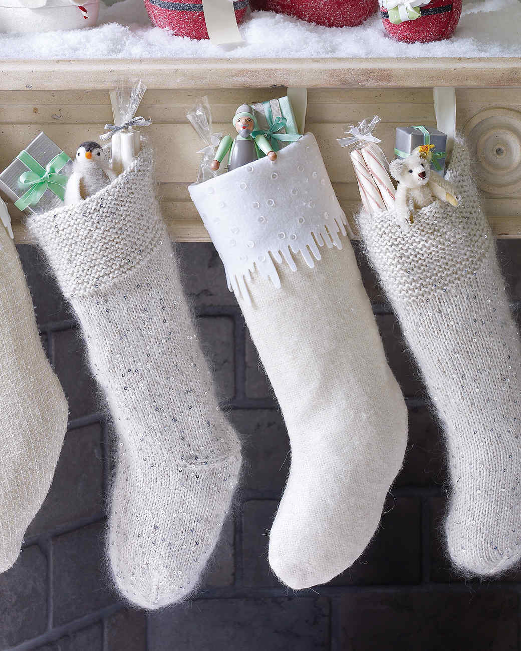 sequined mohair and wool felt icicle stockings - Christmas Socks Decoration