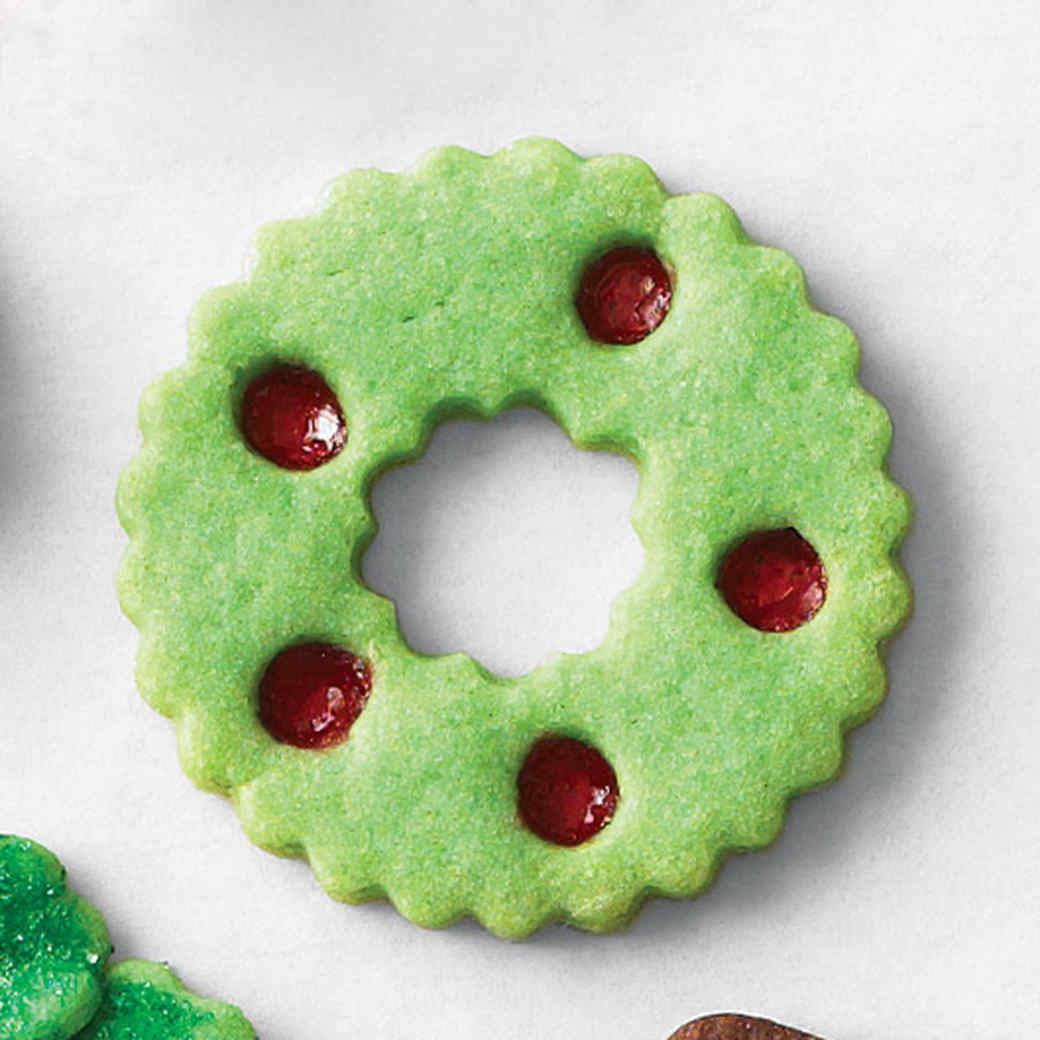 Christmas Wreath Cookies.Stained Glass Wreath Cookies