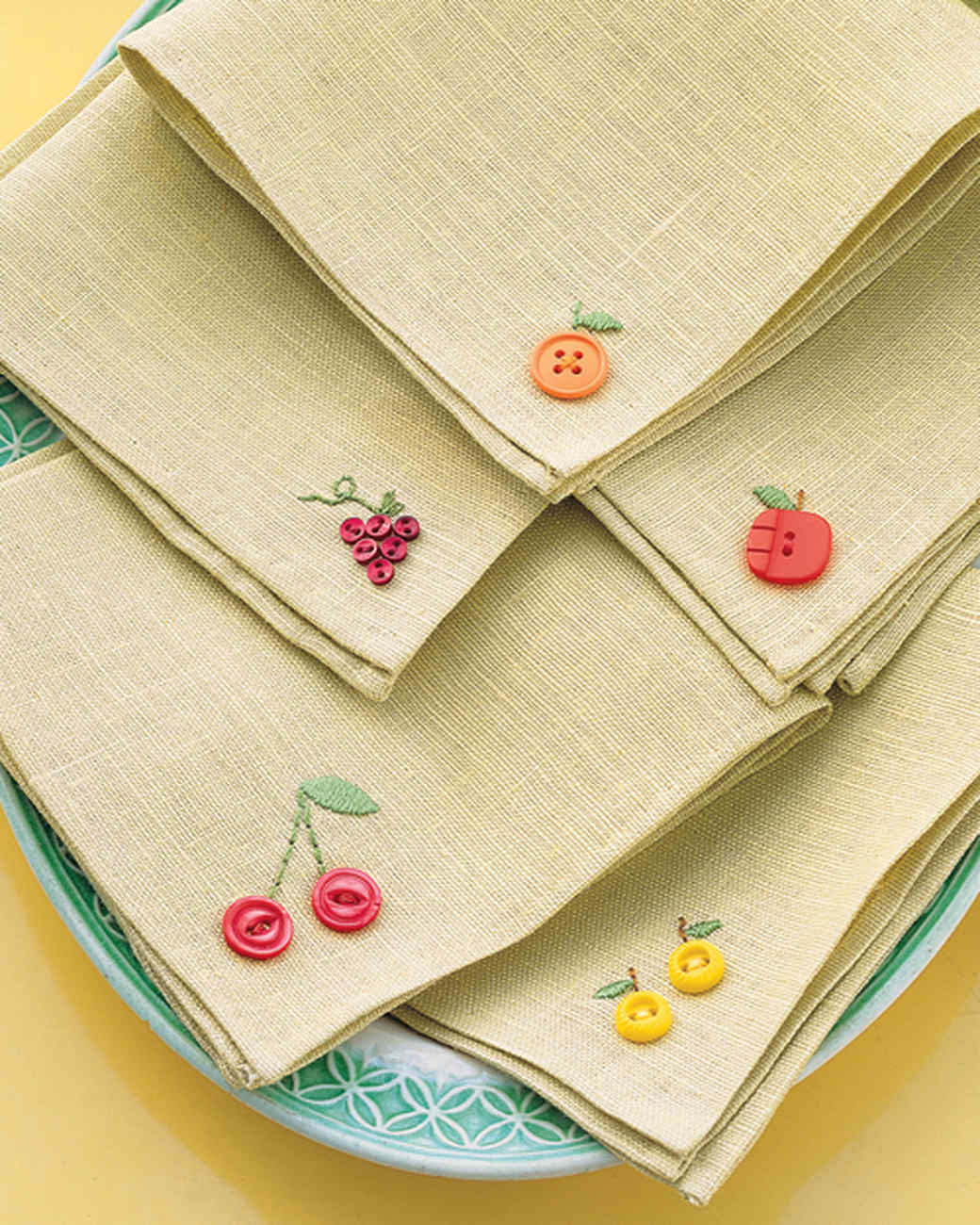 Fruity Button Embroidery Napkins | Martha Stewart