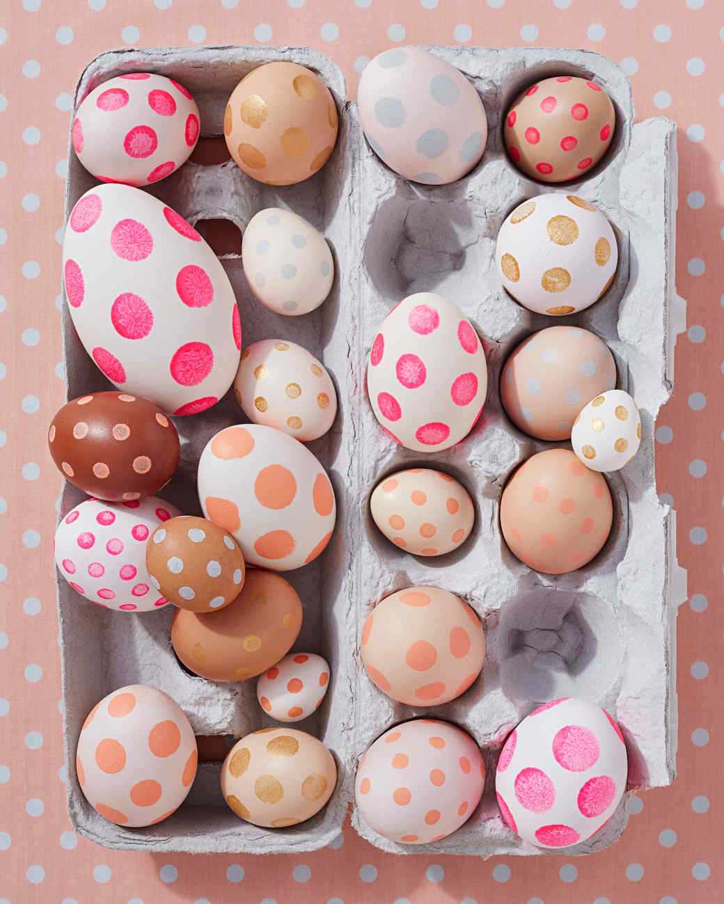 polka dotted easter eggs in carton