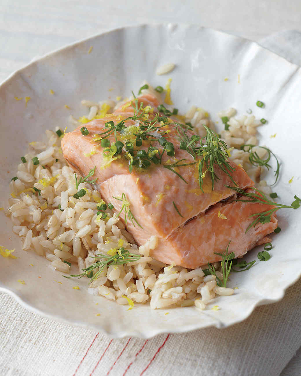 Steamed Salmon with Herbs and Lemon