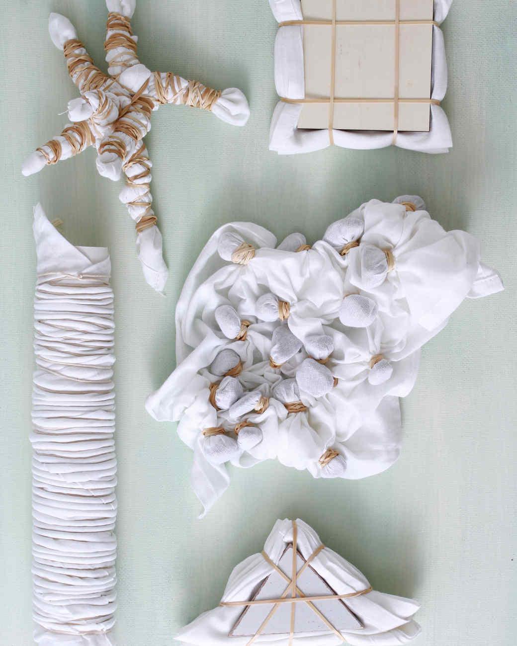 assortment of bundled fabrics