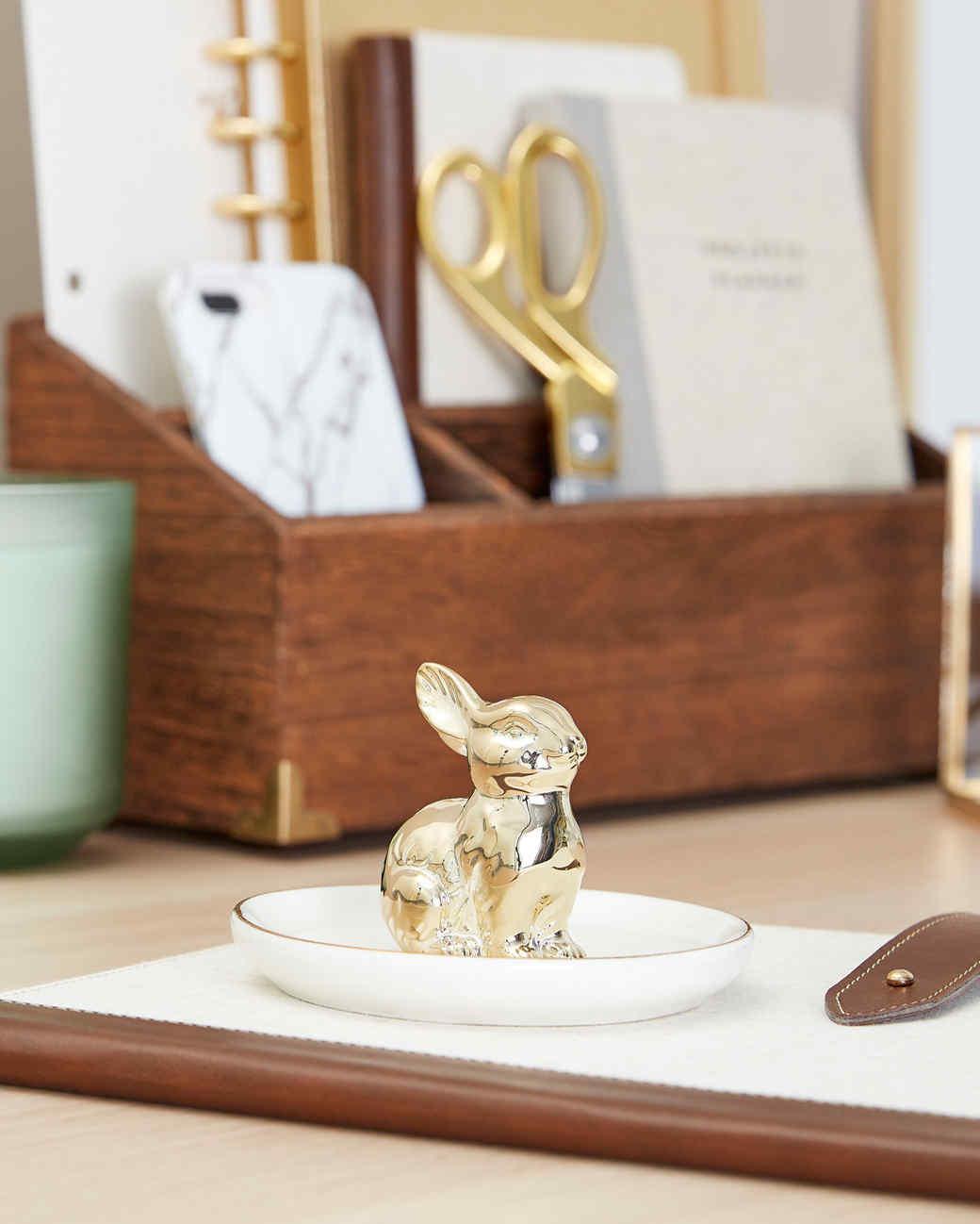 gold bunny tray on desk