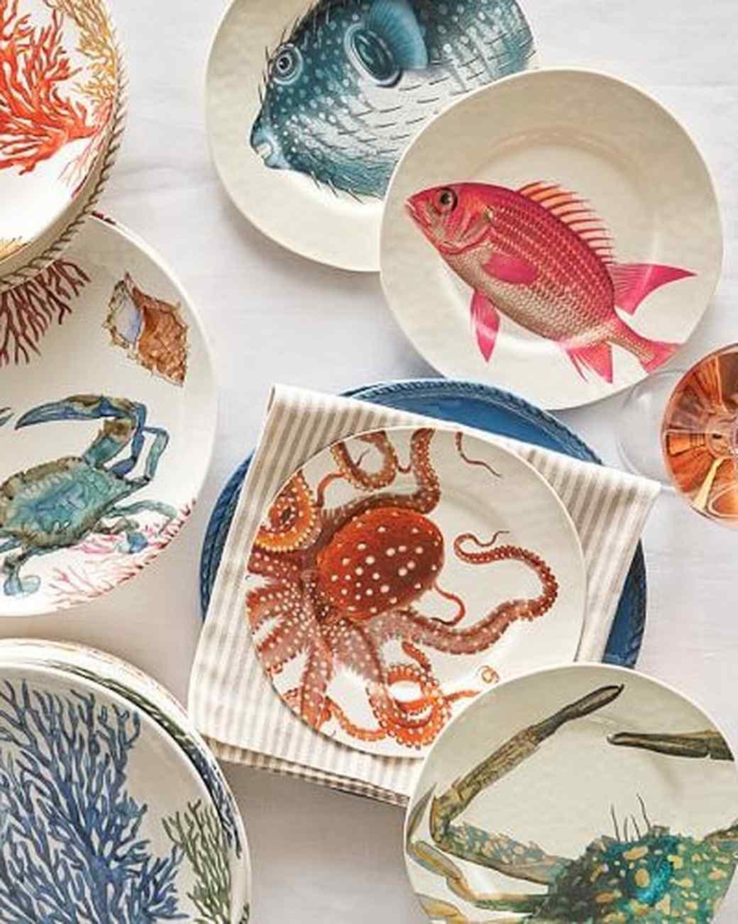 beach-themed plates & 10 Beach Party Entertaining Essentials | Martha Stewart