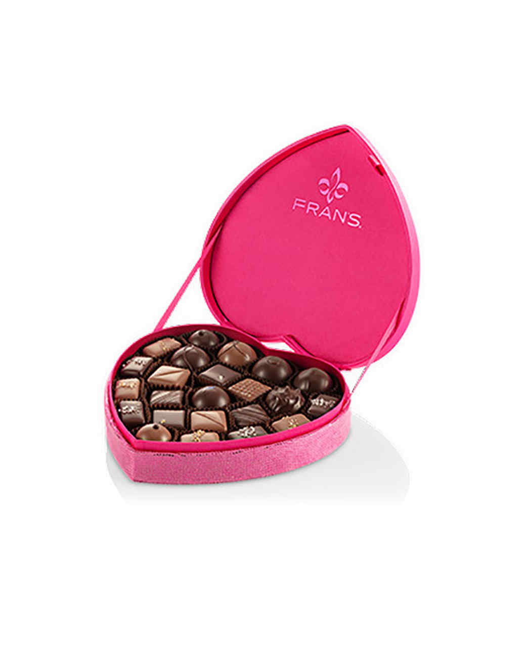 pink heart shaped chocolate box frans
