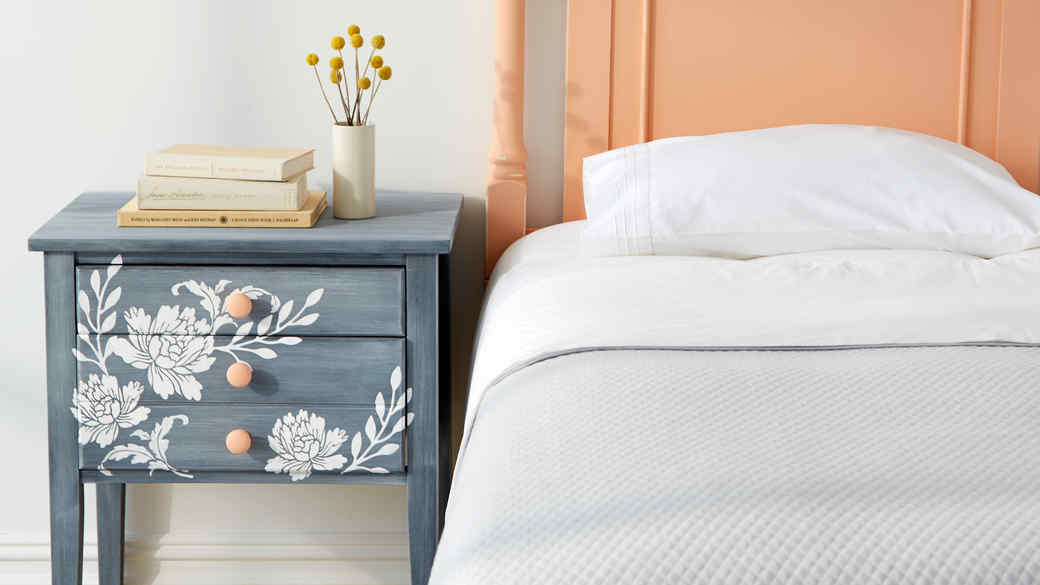 DIY Floral Bedside Table
