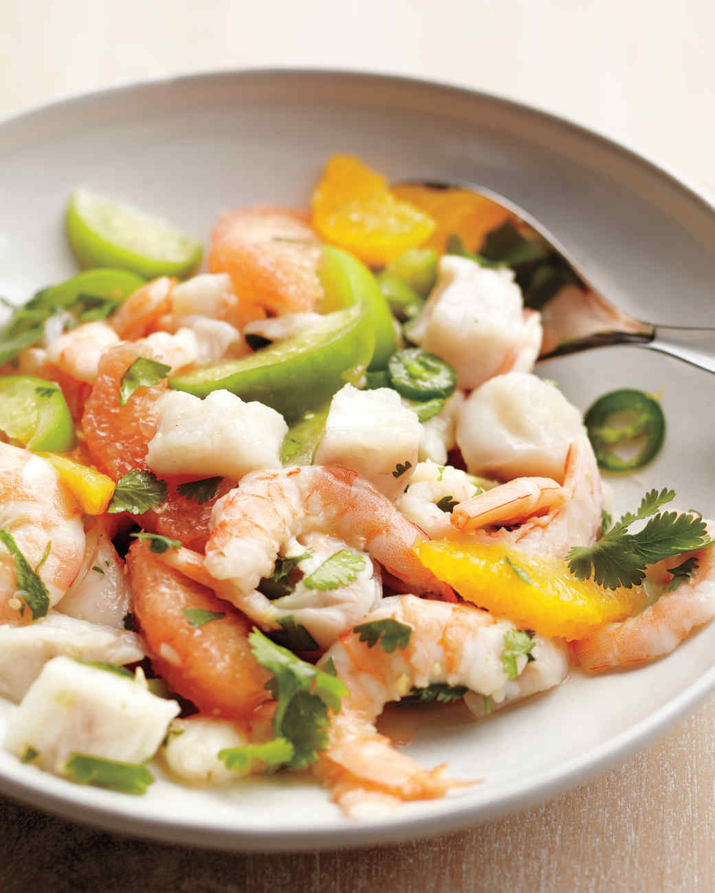 Shrimp and Snapper Seviche with Tomatillos