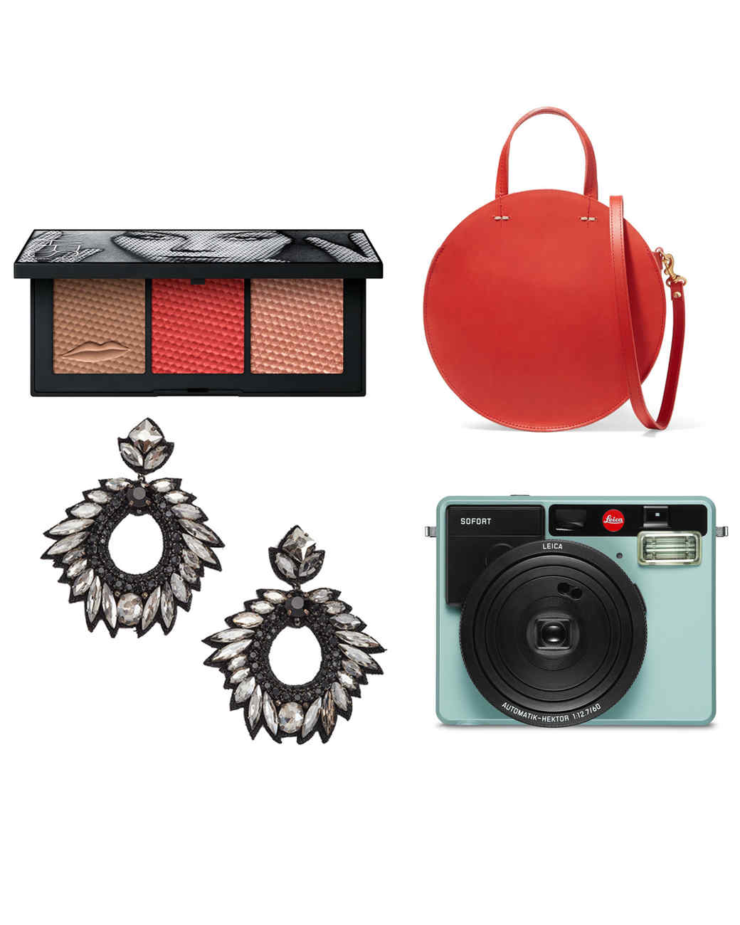 gifts for women eyeshadow bag earrings camera