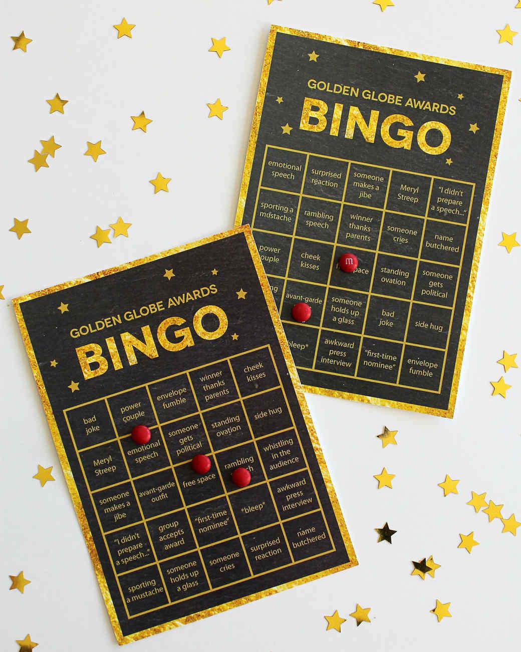 Golden Globes printable bingo cards